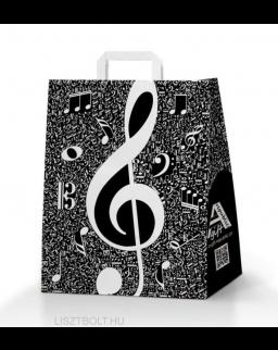 Papírtáska - violinkulcsos, fekete-fehér