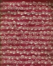 Bordó, hangjegyes, hosszúfülű pamut táska