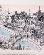 Művészi nyomat Budapest grafika látkpével A4 méretben