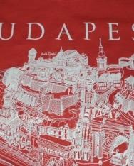 Női póló piros színben Budapest grafikai látképével XL