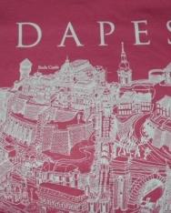 Női póló rózsaszín színben Budapest grafikai látképével XL