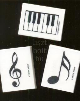 Radír - hangjegyes, violinkulcsos vagy klaviatúrás