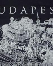Unisex póló fekete színben Budapest grafikai látképével 140 cm