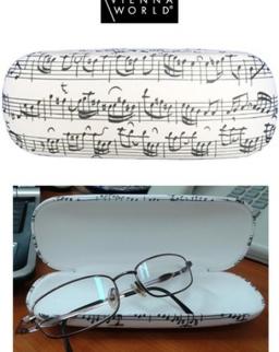Szemüvegtok fehér, kottás (kemény)