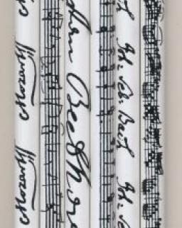 Ceruza - fehér, Bach vagy Beethoven vagy Mozart aláírásával és kottájával