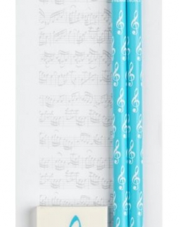 Kottás, mágneses jegyzettömb + 2 ceruza + radír (Kék)