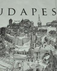 Unisex póló fehér színben Budapest grafikai látképével 140 cm