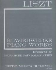 Liszt Ferenc: Études op. 6., Ungarische Nationalmelodien, Buch der Lieder II.  fűzött