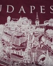 Unisex póló bordó színben Budapest grafikai látképével XXL