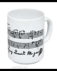Bögre - fehér, Mozart kottájával és aláírásával