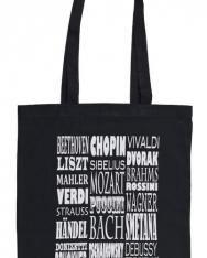 Fekete, zeneszerzők neveivel feliratozott pamut táska - hosszúfülű