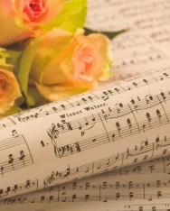 Képeslap - kotta + rózsa