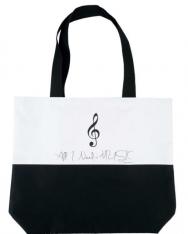Táska - válltáska, fekete fehér violinkulccsal, vastag