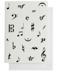 Képeslap zenei írásjelekkel, borítékos