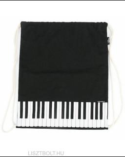 Hátizsák - zsinóros, fekete, klaviatúrás (vászon)