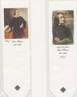 Könyvjelző - Liszt Ferenc - (merített papír, kézműves)