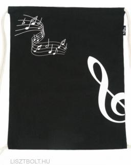 Hátizsák - zsinóros, fekete, violinkulcsos (vászon)