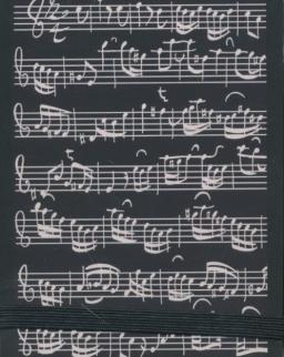 Jegyzetfüzet - fekete, kottás (A7 méret)