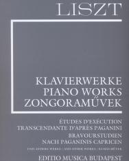 Liszt Ferenc: Bravourstudien nach Paganinis Capricen (Supplement 12.) fűzve