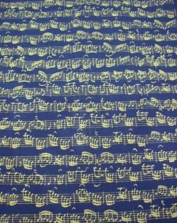Kék, hangjegyes pamut táska