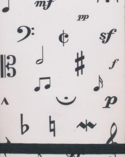 Jegyzetfüzet - zenei írásjelekkel (A7 méret)
