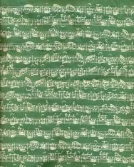 Zöld, hangjegyes pamut táska