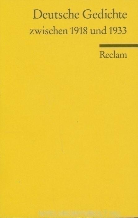 Deutsche Gedichte zwischen 1918 und 1933