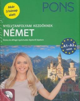 PONS Nyelvtanfolyam kezdőknek Német Tankönyv + 4 CD - Új Kiadás