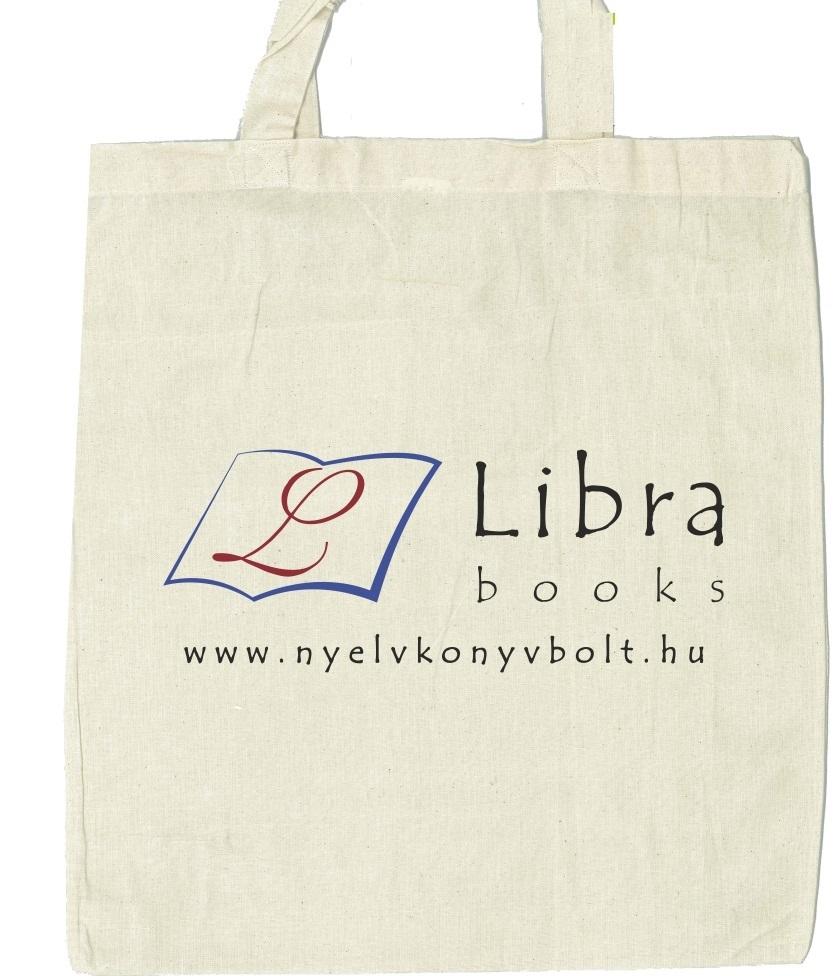 Libra Books logóval ellátott bevásárlótáska, hosszú füllel