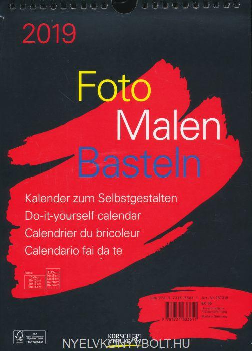 Foto-Malen-Basteln Bastelkalender A4 schwarz 2019