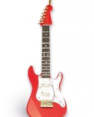 Karácsonyfadísz - piros elektromos gitár