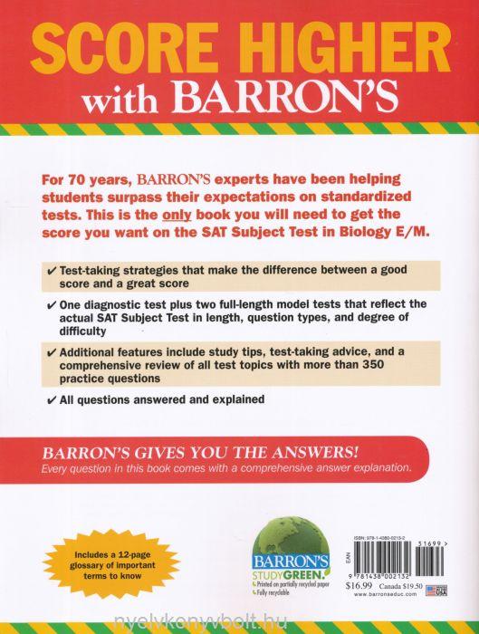 Barron's SAT Subject Test- Biology 4th Edition | Nyelvkönyv