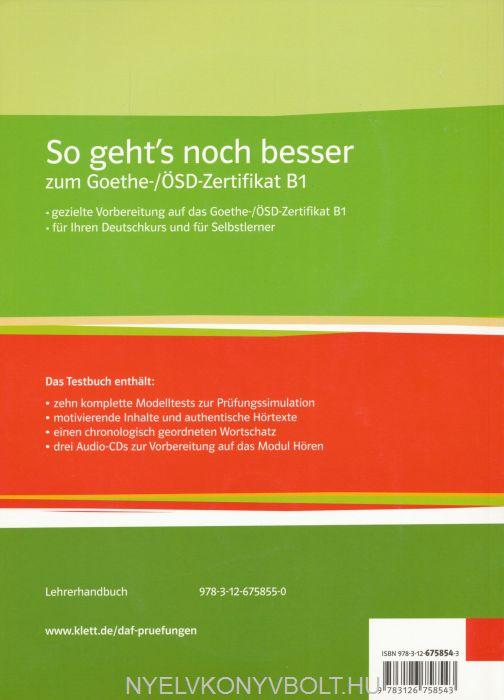 So Gehts Noch Besser Zum Goethe ösd Zertifikat B1 Testbuch Mit 3
