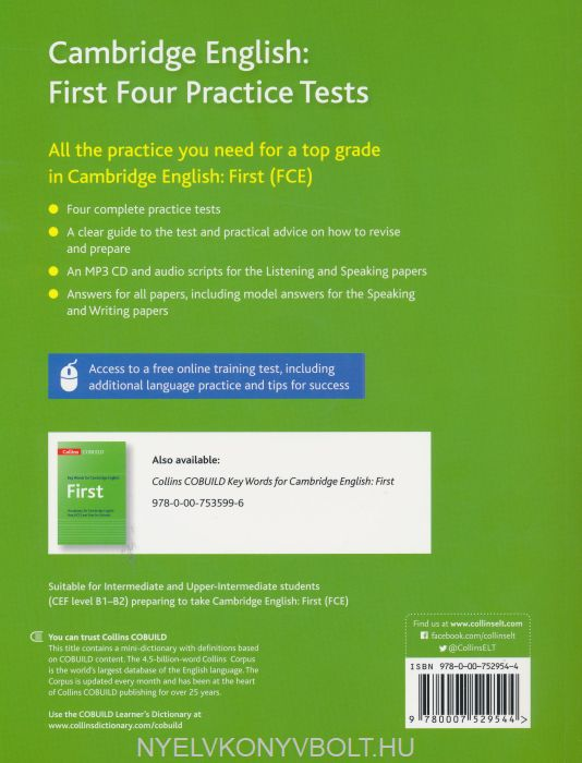 Cambridge English First + mp3 CD - Four Practice Test for FCE + Free