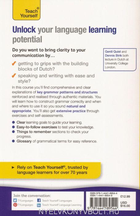 dutch grammar you really need to know teach yourself quist gerdi