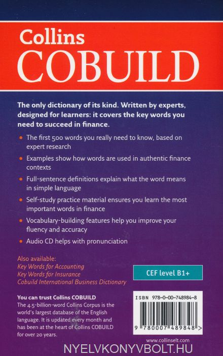 Collins Cobuild Key Words for Finance with mp3 CD   Nyelvkönyv