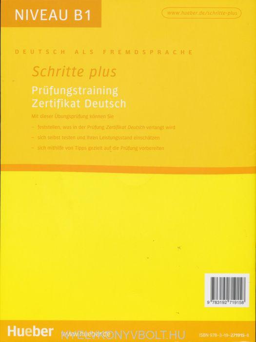 Schritte Plus Prüfungstraining Zertifikat Deutsch Mit Audio Cd B1