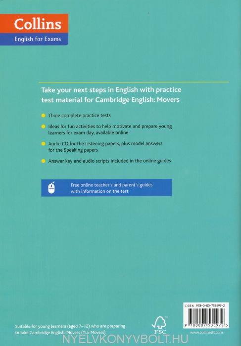 Cambridge English Movers Three Practice Tests with Answer Key & Mp3