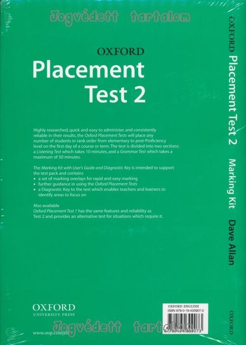 Oxford Placement Tests 2 Marking Kit, Guide, Answer Key | Nyelvkönyv