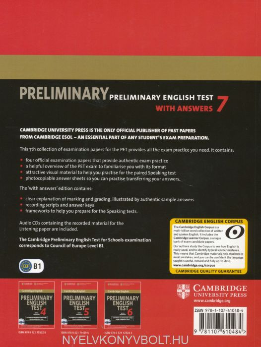 Cambridge Preliminary English Test 7 with Answers: Examination