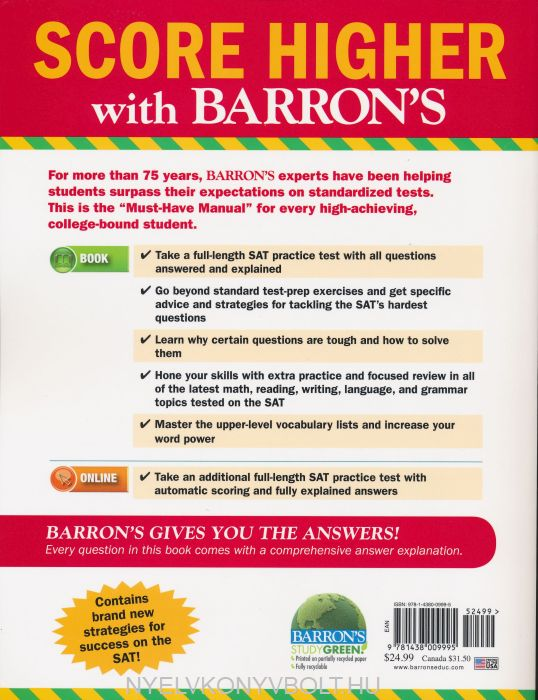 Barron's SAT 1600 6th Edition | Nyelvkönyv forgalmazás