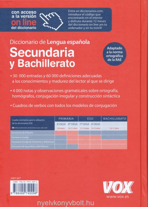 Vox Diccionario Secundaria y Bachillerato Lengua Espanola
