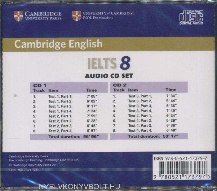 Cambridge IELTS 8 Official Examination Past Papers Audio CDs